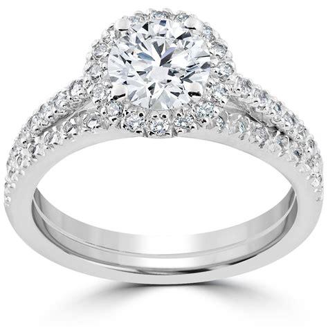 2 ct wedding rings 1 1 2 ct diamond halo engagement wedding ring 14k white gold enhanced ebay