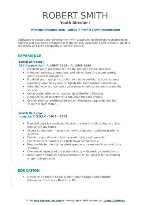 youth director resume samples qwikresume