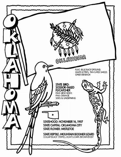 Oklahoma Coloring Crayola State Bird Flower Flag