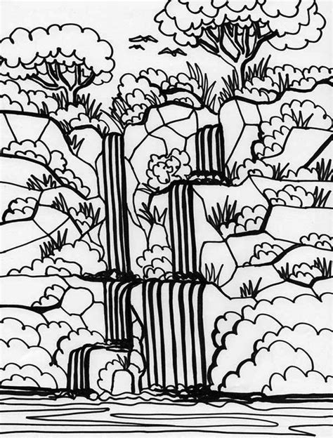 rainforest  waterfalls coloring page  print