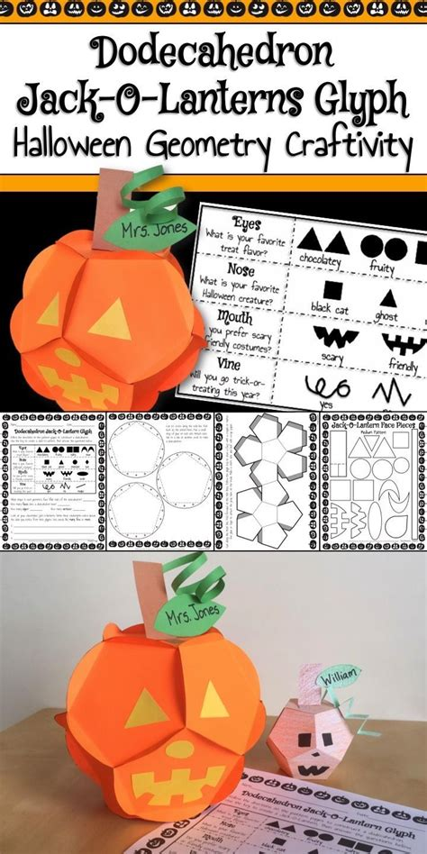 halloween math activity dodecahedron jackolantern glyph