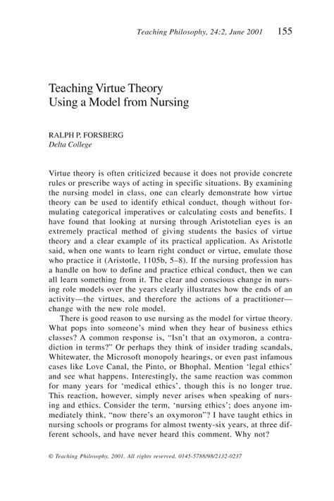 teaching virtue theory   model  nursing ralph p forsberg teaching philosophy