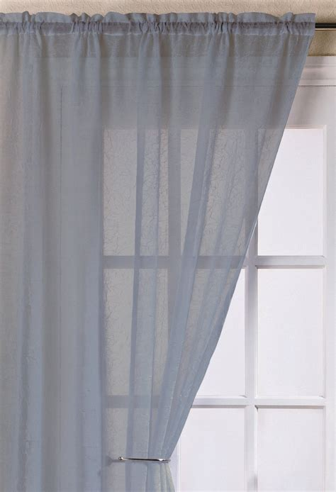 Voile Curtains by Fiji Silver Crushed Voile Panel Woodyatt Curtains Stock