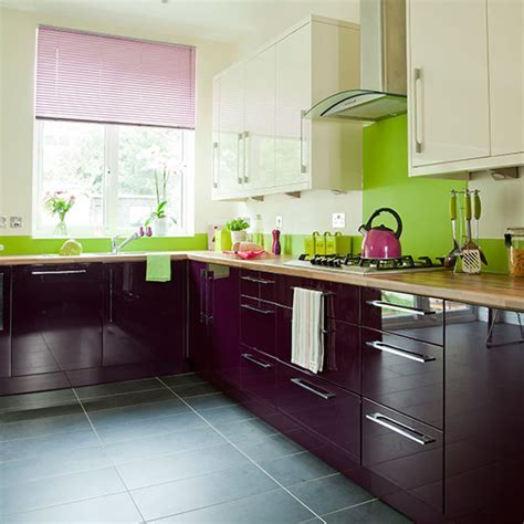 Aubergine and cream kitchen   Decorating   Ideal Home