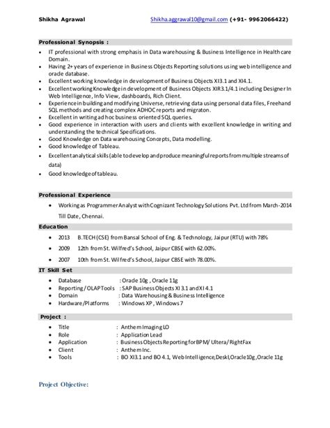 sap bo architect resume 28 images 16 free sle sap