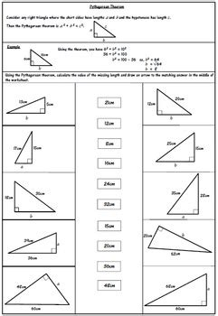 pythagorean theorem worksheet by 123 math teachers pay teachers