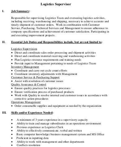 For Logistics Supervisor by Logistics Supervisor Description Sle 7 Exles