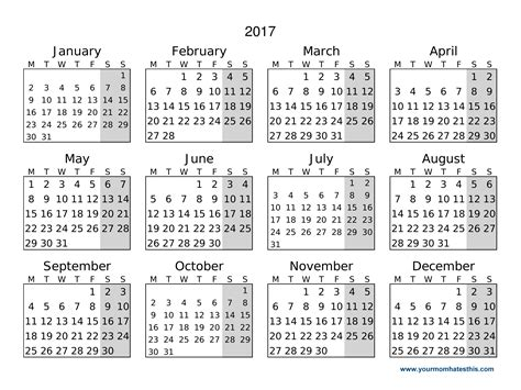 10 day calendar template 2017 calendar
