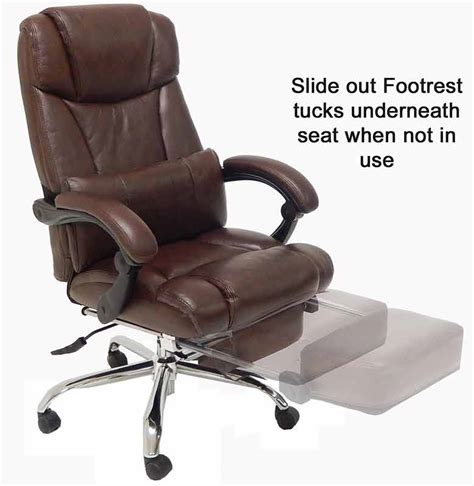 Leather Reclining Office Chair W Footrest