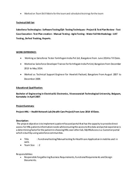 Salesforce Testing Sle Resume by Salesforce Testing Resume