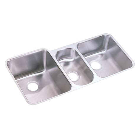 three basin kitchen sink elkay lustertone undermount stainless steel 40 in 6104