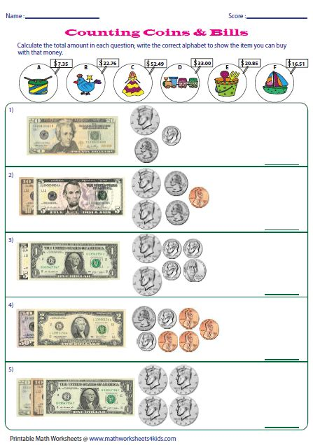 counting coins and bills worksheets money worksheets