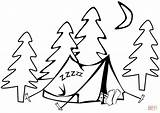 Tent Camping Coloring Pages Printable Sleeping Hiking Drawing Sc Supercoloring Template St Sketch Getdrawings Version Paper sketch template