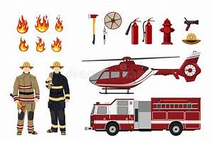 Firefighters And Fire Fighting Equipment On A White ...