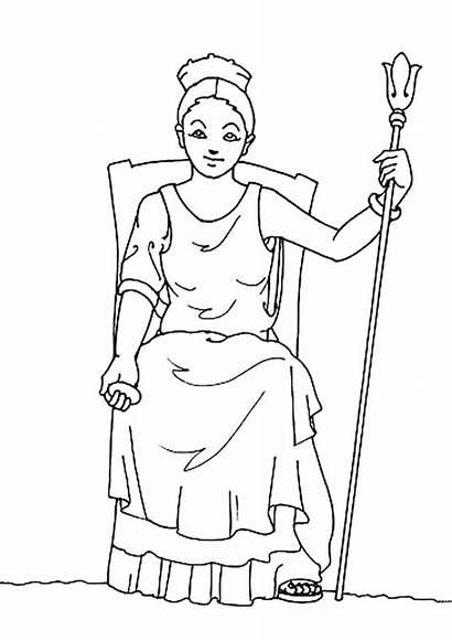 Coloring Greek Hera Gods Goddesses Pages Goddess