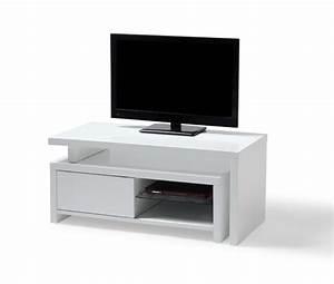 Télé 110 Cm : meuble tv blanc laqu 110 cm meuble et d co ~ Teatrodelosmanantiales.com Idées de Décoration