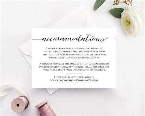 accommodations card wedding templates  printables