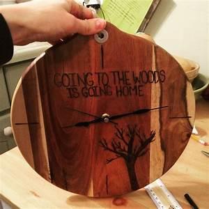 Wood, Burned, Clock