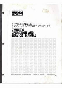 Ezgo Gas Golf Cart Repair Service Manual 1989