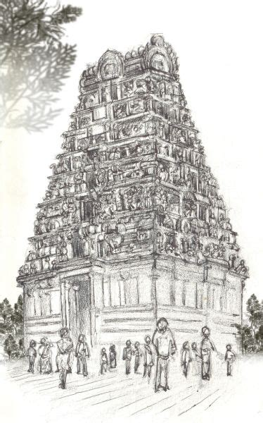 gopuram pencil jammers temple art landscape drawings