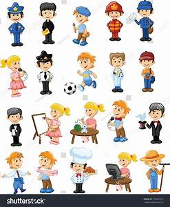 Cartoon Characters Different Professions Stock Vector