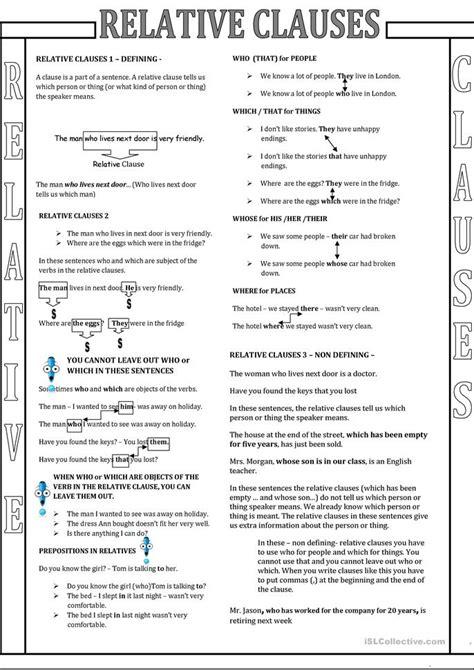 esl relative clauses worksheets