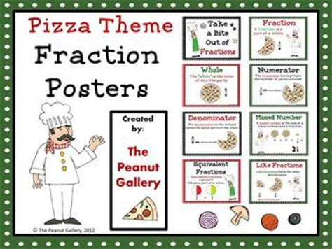 fraction posters pizza theme   peanut gallery tpt