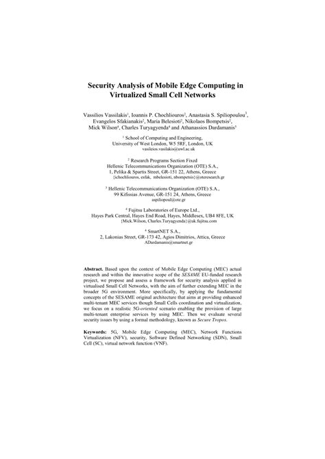 (PDF) Security Analysis of Mobile Edge Computing in