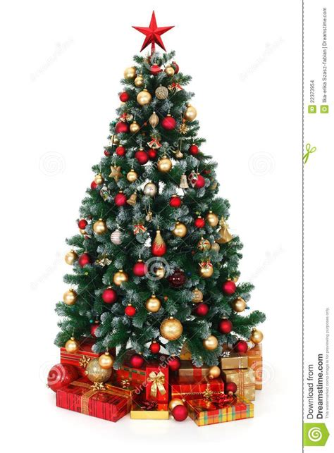 green decorated christmas tree  presents stock images