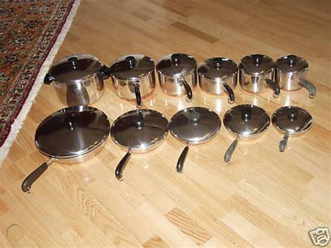 revere ware  copper clad  piece cookware set
