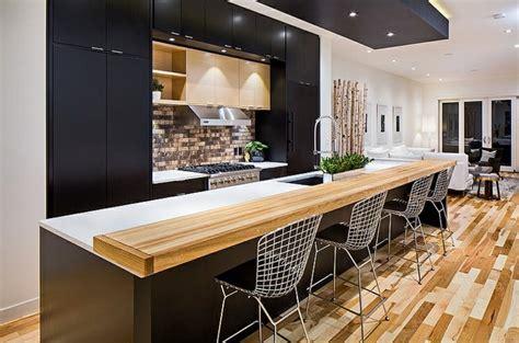 couleur cuisine salon air ouverte cuisine et bois moderne et élégante