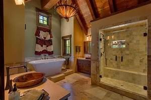Rustic Master Bathroom with Exposed beam & Vessel Sink