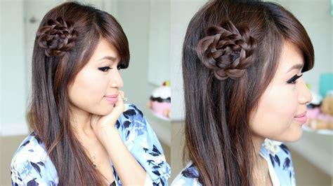 rosette flower braid hairstyle  medium long hair