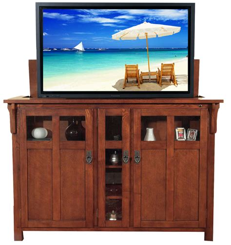 tv lift cabinets for flat screens bungalow mission oak tv lift cabinet for flat screen tvs