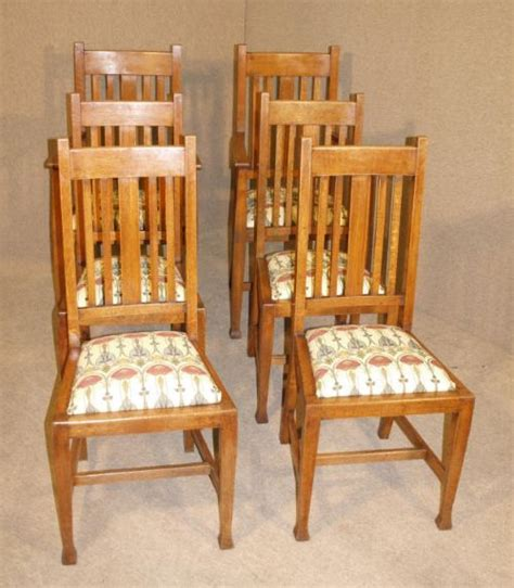 arts crafts oak dining table and 6 chairs 216798