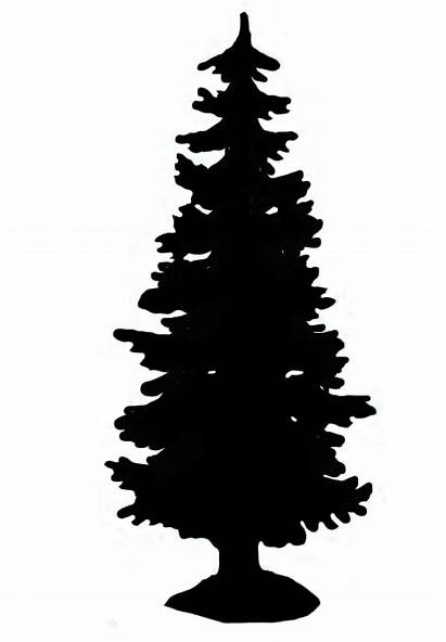 Silhouette Tree Christmas Clipart Graphics Spruce Tall