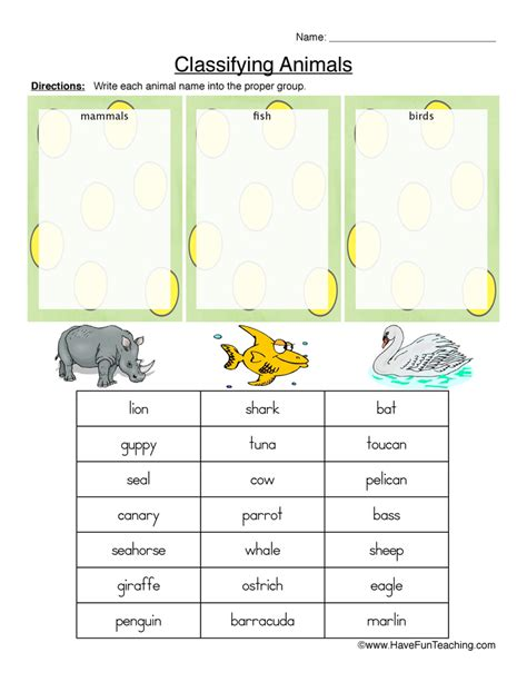 classifying animals worksheet mammals fish or birds