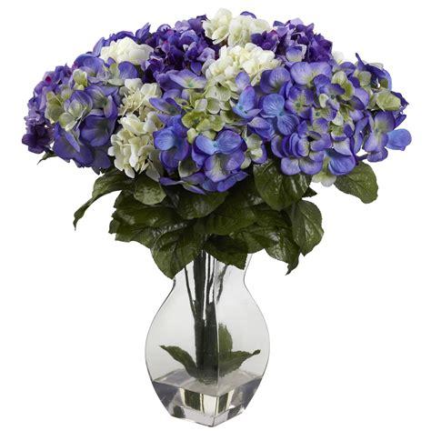 white flower table l blue purple white silk hydrangea centerpiece table decor
