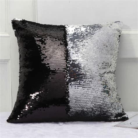 diy  tone glitter sequins throw pillow case reversible