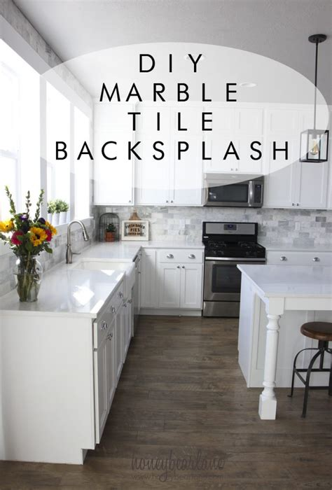 diy tile kitchen backsplash my diy marble backsplash honeybear lane