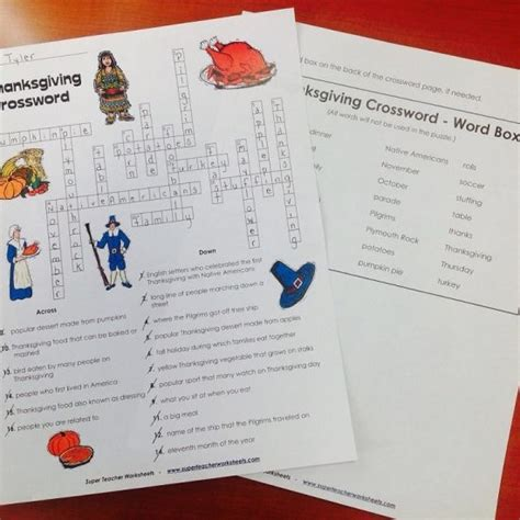 thanksgiving crossword puzzle from super teacher worksheets holidays super teacher