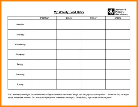 Food Diary Template Weekly Food Diary Template Templates Data