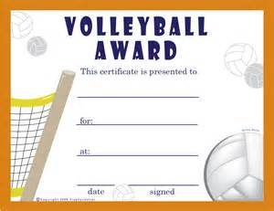 Free Printable Volleyball Award Certificate Template