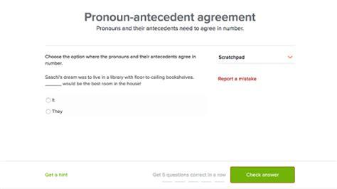 pronoun antecedent agreement practice khan academy