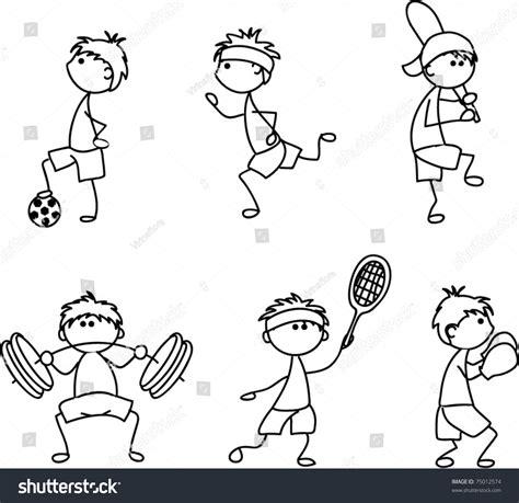 cartoon sport icon children drawing stock vector