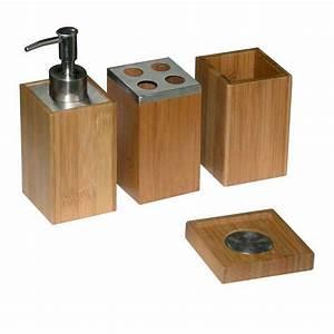 Accessoires De Salle De Bain : 4 accessoires sdb bambou ~ Dailycaller-alerts.com Idées de Décoration