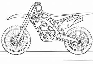 kawasaki motocross bike coloring page free printable With honda 500 dirt bike