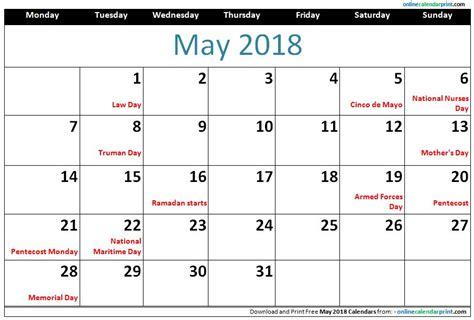 2015 Calendar Template With Holidays Printable Calendar 2018 2018 Calendar With Holidays Calendar Monthly Printable