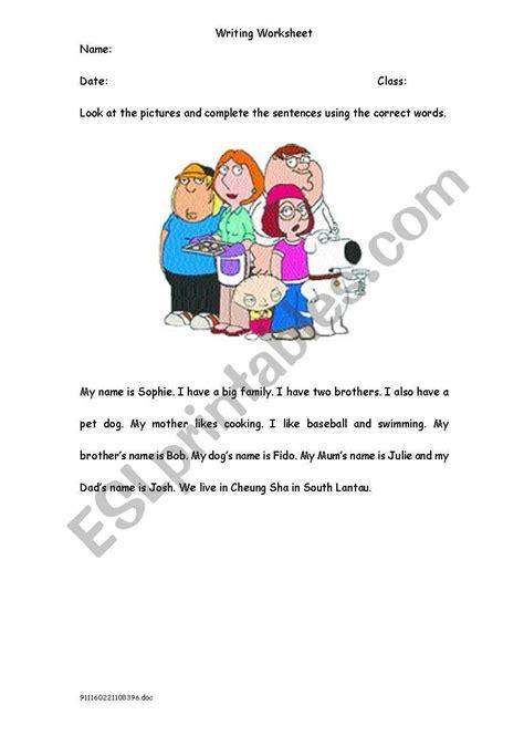 describe  family esl worksheet  missalex