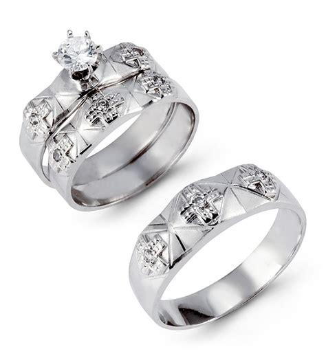 solid 14k white gold multi cross cz wedding ring trio